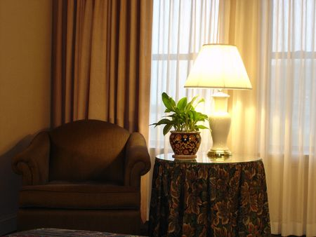 goldish: Welcome to Relax - Cosy Corner with Chair, Table, Lamp and Flowers