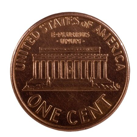 One Peny - American One Cent; Isolated, Path included