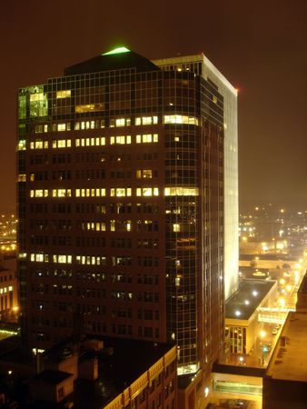 Office Building in the with Night Stock Photo