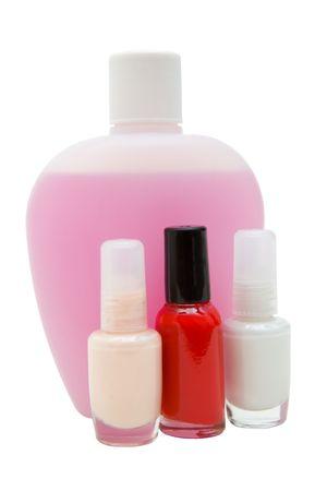 マニキュアと溶媒の化粧品ボトルの優しい柔らかいイメージ分離、パスを含める