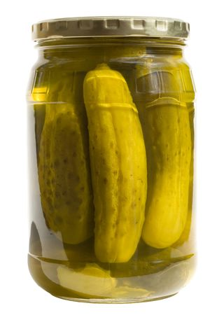 Kosher Dills in a Jar, isolated, path included Stock Photo