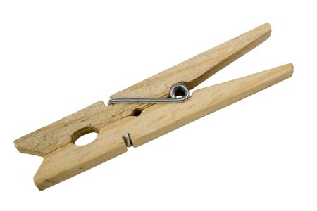 Standard Wooden Clothespin; on white Stock Photo