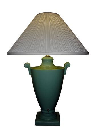 Green Porcelain Vase Lamp with White Shade; isolated, path clipping included