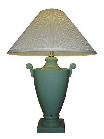 Green Vase Lamp with White Shade; isolated, path clipping included