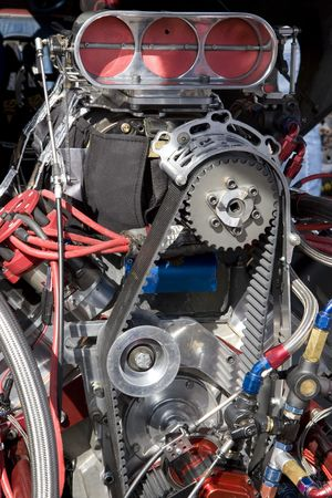 horse pipes: Engine of Hot Rod Car Stock Photo