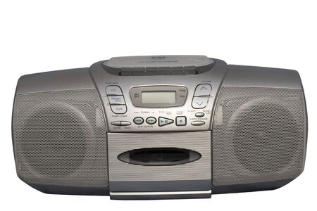 Silver Stereo CD Radio Cassette Recorder; isolated, clipping path included