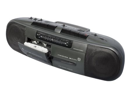 Stereo Radio Dual Cassette Recorder; isolated, clipping path included