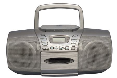Portable Stereo CD Radio Cassette Recorder; isolated, clipping path included 版權商用圖片