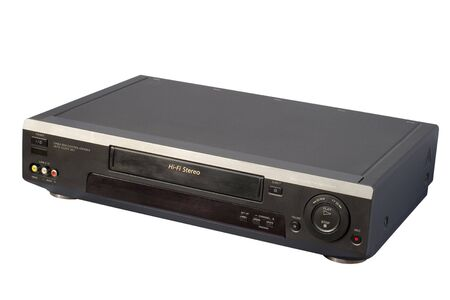 vcr: Black Hi-Fi VCR, isolated, clipping path included
