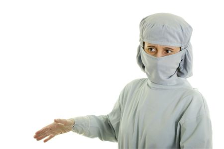 Medical doctor giving instractions; on white