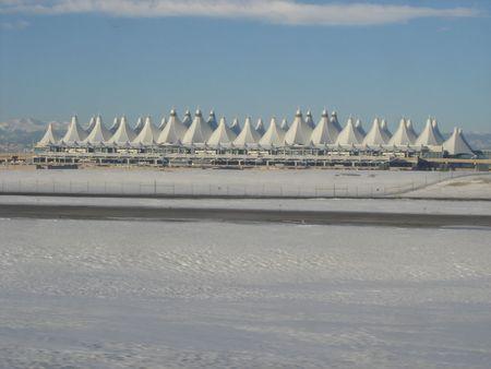 Winter Snow on Runway in Denver International Airport Stock Photo