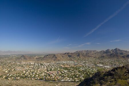 ocotillo: City of Scottsdale in Arizona as seen from North Mountain Stock Photo