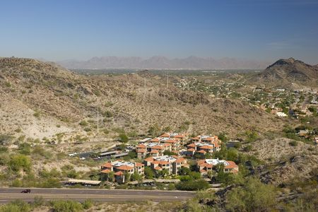 Red Roof Houses in Phoenix, Arizona, as seen from North Mountain Stock Photo - 748943