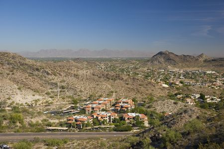Red Roof Houses in Phoenix, Arizona, as seen from North Mountain Stock Photo - 748940