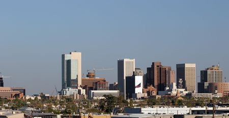 az: Panorama of Downtown of Phoenix, AZ Stock Photo