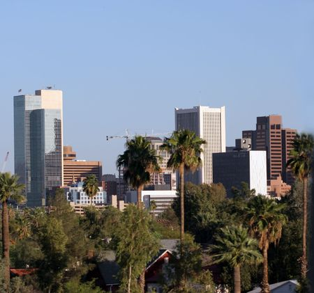 Highrise Buildings in Downtown of Phoenix, AZ Imagens