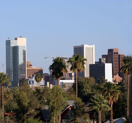 az: Highrise Buildings in Downtown of Phoenix, AZ Stock Photo