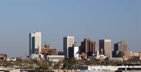 az: Panorama of Highrise Buildings in Downtown of Phoenix, AZ