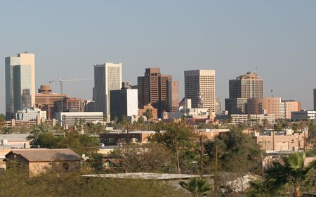 Skyscrapers and Single Family Houses in Downtown of Phoenix, AZ photo