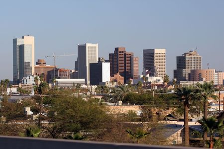 az: Highrise Buildings in Downtown of Phoenix, AZ Stock Photo