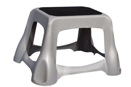 sturdy: Sturdy Plastic Rubberized Grey Stool; isolated, clipping path included.