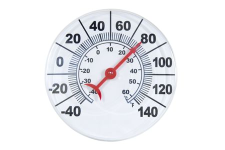 weather gauge: Round thermometer showing warming; isolated, clipping path included