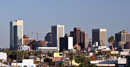 Skyscrapers and Single  Houses Roofs in Downtown of Phoenix, AZ photo