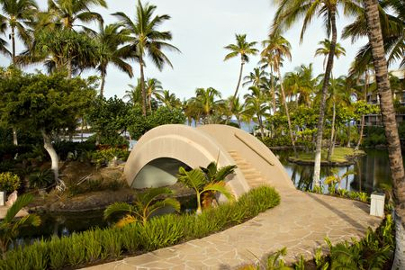 kona: Tropical Resort Walkway and Bridge on Hawaii Kona Island