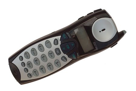 caller: Cordless Phone with Caller ID, on white Stock Photo