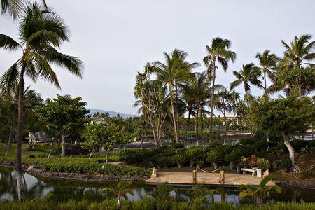 Tropical Resort Hotel Boat Pier on Hawaii Kona Island photo