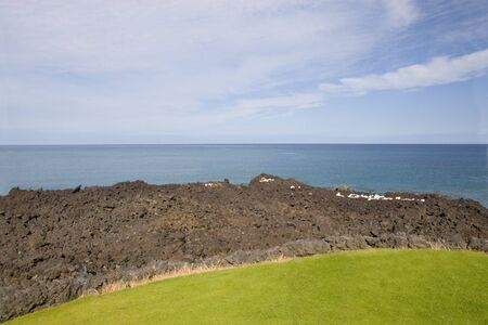 Volcanic Lava at Pacific Coast of Kona Island, Hawaii photo