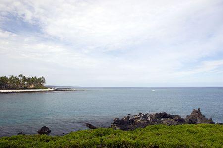 kona: Azure Ocean at Kona Island Volcanic Lava Shore, Hawaii Stock Photo