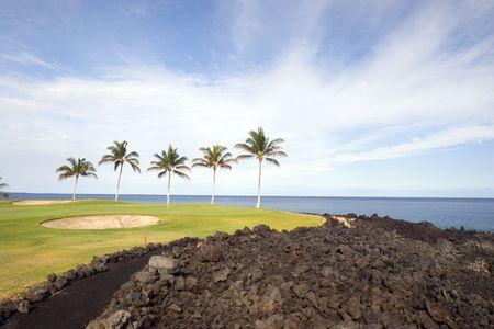 kona: Golf Course on Lava Ocean Shore of Kona Island, Hawaii