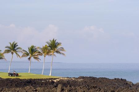 kona: Golf Course on Volcanic Ocean Shore of Kona Island, Hawaii Stock Photo