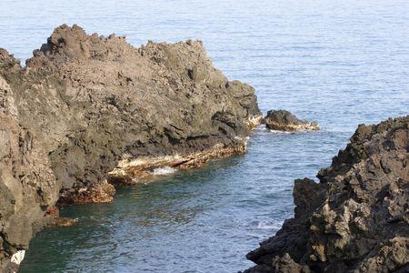 kona: Hawaiian Volcanic Beach on Kona Island Stock Photo