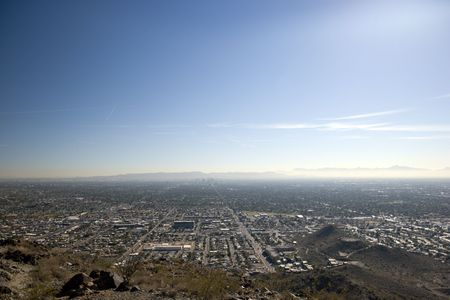 Phoenix Roads to Downtown as seen from North Mountain, Arizona