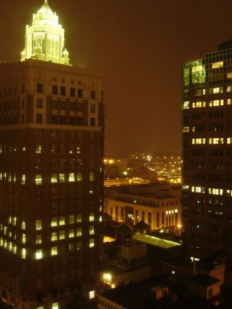 uptown: Night above Skyscrapers, Des Moines downtown, Iowa, USA
