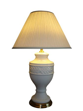 disperse: Electric Lamp on Brass and Ceramic Vase Stand,