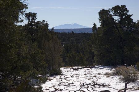 View from Grand Canyon toward San Francisco Peaks in Winter,  Arizona Stock Photo - 2313006