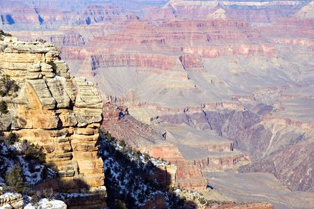 View from Mother Point on Grand Canyon in Winter, Arizona Stock Photo - 2322786