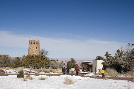 Winter Tourists heading to Watch Tower, South East Rim of Grand Canyon, Arizona Stock Photo - 2329947