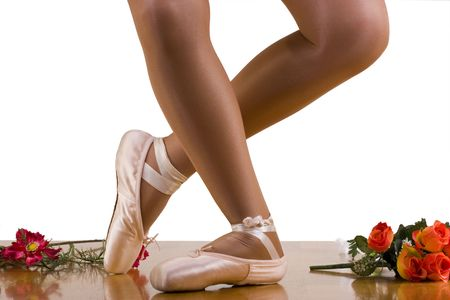 reverence: Caught movements of ballet workout; dress rehearsal; reverence ; focus on working leg