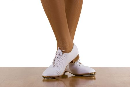 Tap-topClog dancer in clogging shoes; on white
