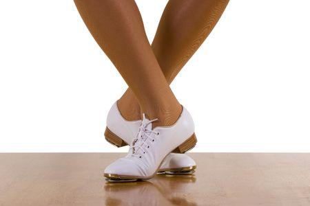 Tap-topClog dance steps; on white Stock Photo