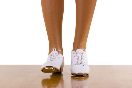clog: Tap-TopClog dance front steps; close up, on white Stock Photo