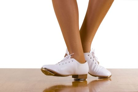 tap dance: Tap-TopClog dance front and side steps; close up, on white