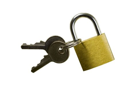 Brass padlock keyed alike with two keys; isolated, four clipping paths included Stock Photo - 2655305