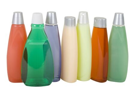 cleanser: Bottles with Colorful Liquid Soap and Shampoo; isolated, clipping path