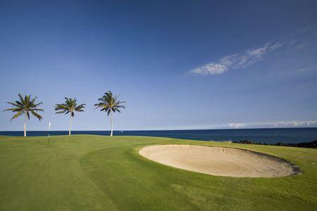 kona: Big Island Golf Course on Lava Ocean Shore of Kona, Hawaii