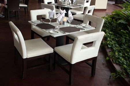 Restaurant table for four persons, Kona Island, Hawaii Stock Photo - 3170631
